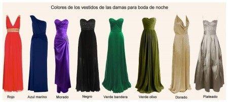 Colores de vestido para un matrimonio de noche