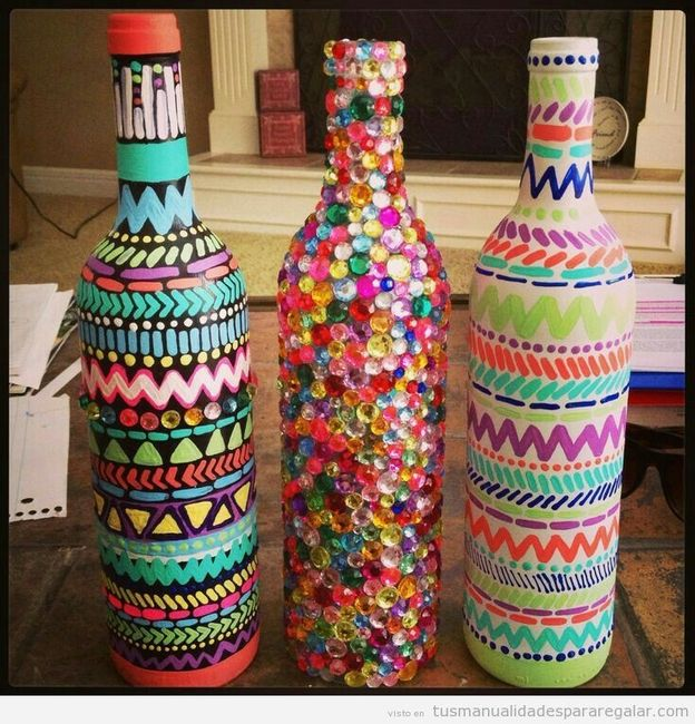 Botellas decoradas foro manualidades para bodas - Botellas decoradas manualidades ...