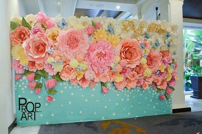 Diy flores gigantes de papel foro manualidades para for Como pegar papel mural
