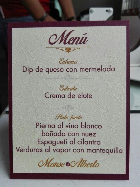 Menú impreso - Fotos - Comunidad bodas.com.mx