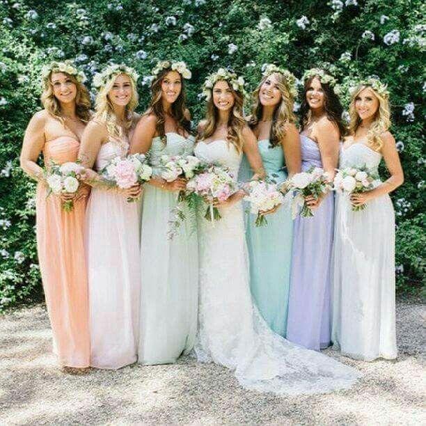 34e38016e Damas de honor en colores pastel - Foro Moda Nupcial - bodas.com.mx