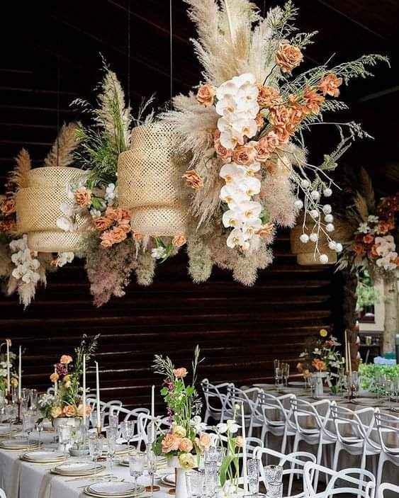Lámparas colgantes con hierba de las pampas 1