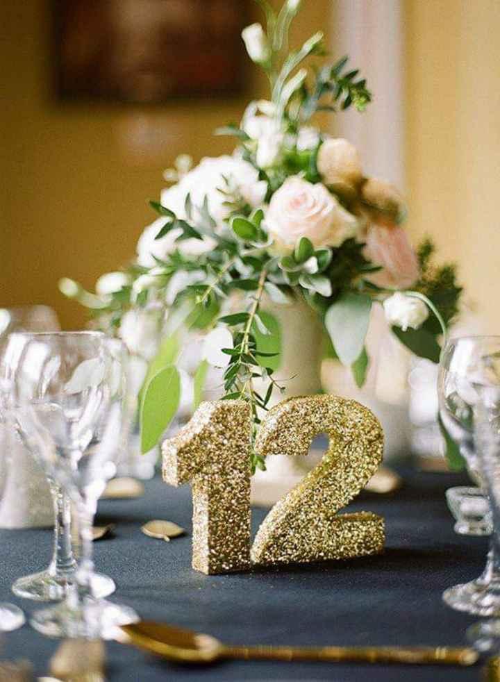 En tus mesas:números con glitter dorado - 2