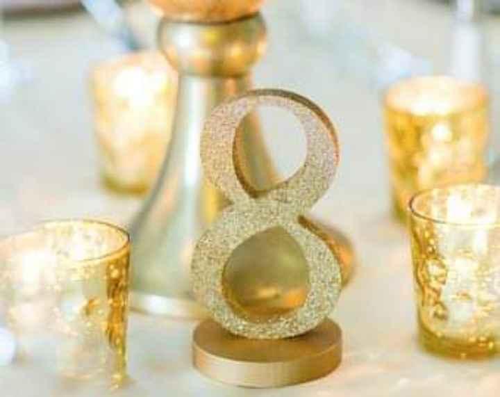 En tus mesas:números con glitter dorado - 5