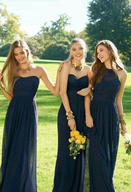 Vestidos para dama de honor azul