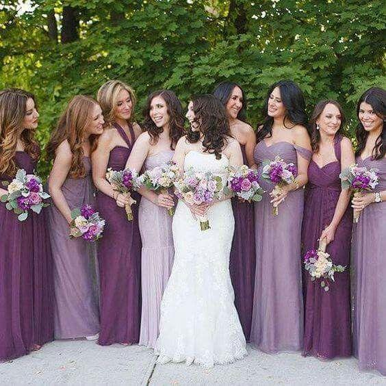 Vestidos color lila para damas de honor cortos