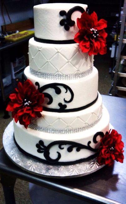 Pasteles de boda en negro rojo y blanco foro - Decoracion blanco negro rojo ...