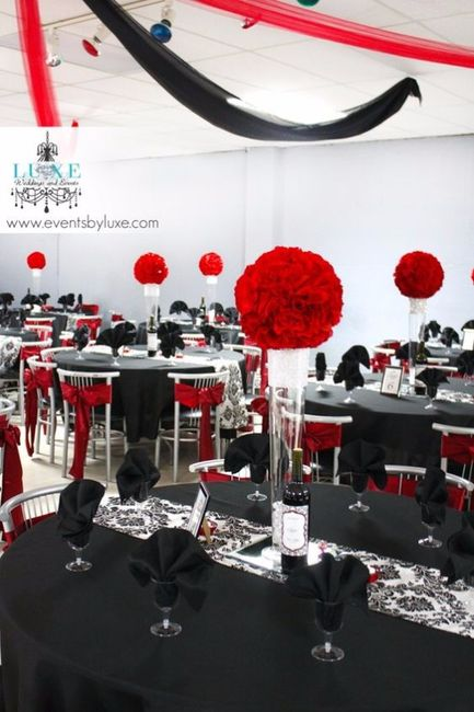 Decoraci n de boda en negro rojo y blanco foro for Decoracion blanco negro rojo