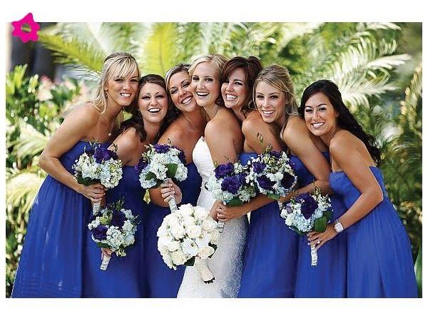 Vestidos para madrinas de boda color azul rey