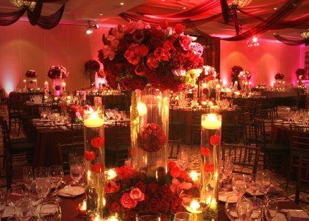 centro de mesa en rojo