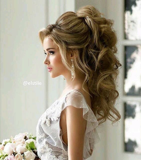 27 Gorgeous Wedding Hairstyles For Long Hair In 2019: Peinados Con Pelo Medio Recogido