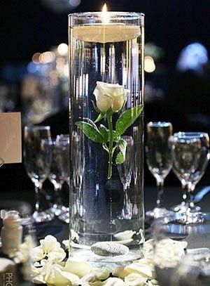 centros de mesa con velas de agua