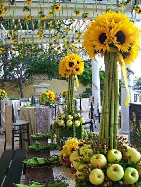 Decoraci n con girasoles foro manualidades para bodas for Adornos para bodas con plantas