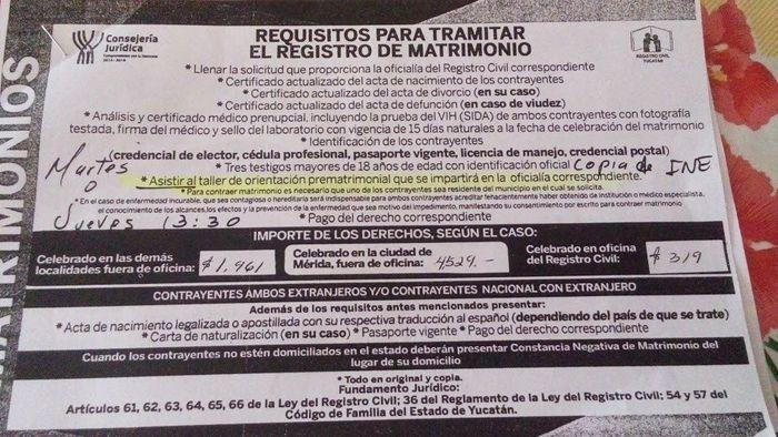 Requisitos del registro civil foro yucat n - Requisitos para casarse ...