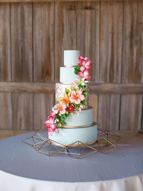 Temática de boda Tropical: Pastel y mesa de postres. 1