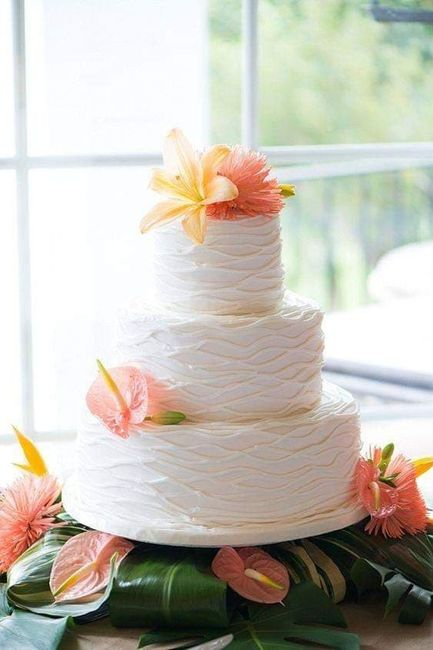 Temática de boda Tropical: Pastel y mesa de postres. 2