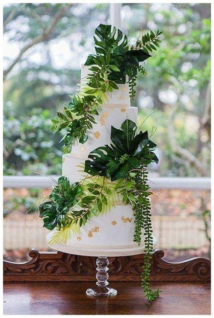 Temática de boda Tropical: Pastel y mesa de postres. 3