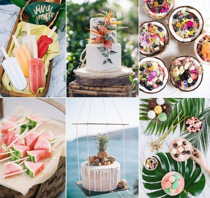 Temática de boda Tropical: Pastel y mesa de postres. 9