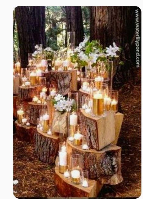 Decoración troncos de madera boda vintage o Rústica. Centros de mesa,base pastel y más. 4