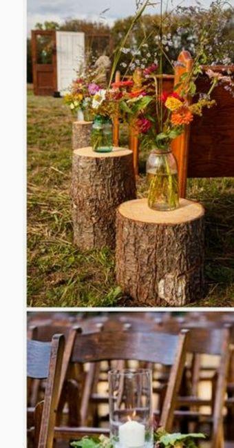 decoración troncos de madera boda vintage o rústica. centros de mesa