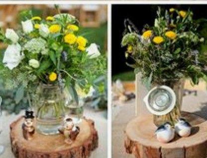 Decoración troncos de madera boda vintage o Rústica. Centros de mesa,base pastel y más. 10