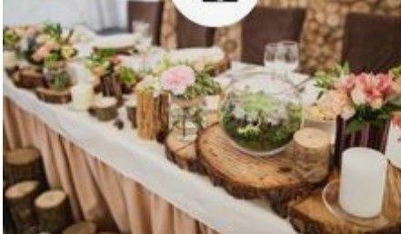 Decoración troncos de madera boda vintage o Rústica. Centros de mesa,base pastel y más. 11