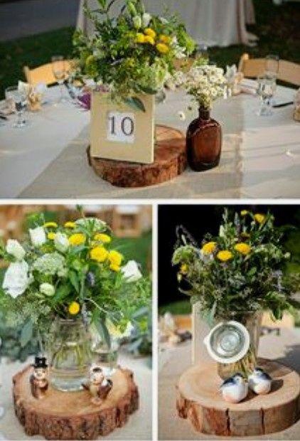Decoración troncos de madera boda vintage o Rústica. Centros de mesa,base pastel y más. 14