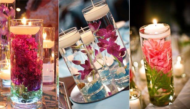 centros de mesa con velas flotantes