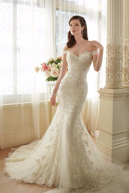 Vestido novia hombros caidos