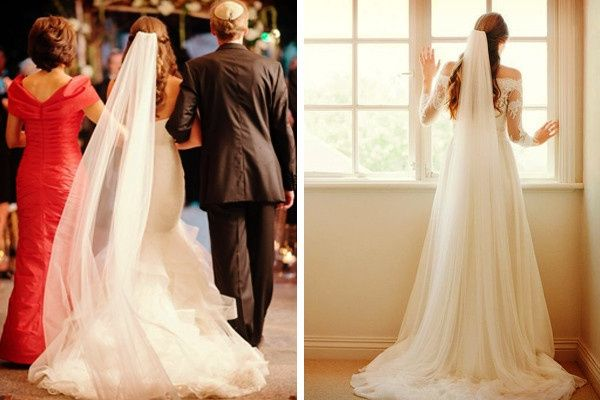 Peinados de novia media cola con velo