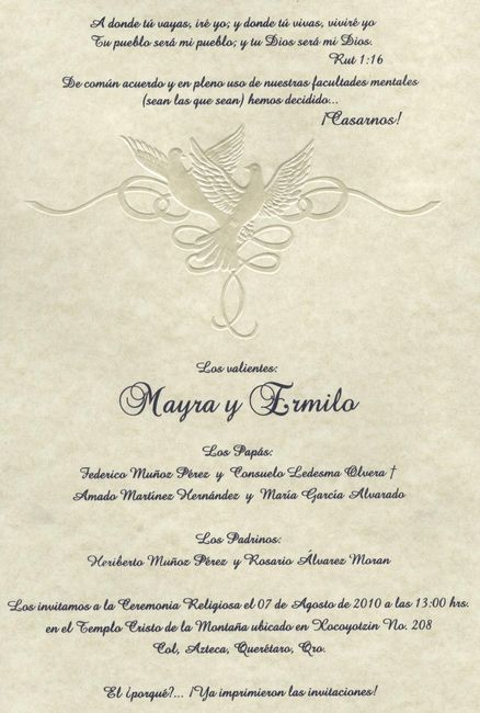 Texto de la invitación!! - Foro Organizar una boda - bodas.com.mx