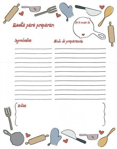 formato de recetario de cocina