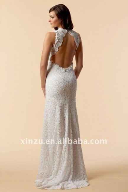 vestido de novia tejido a crochet con escote en la espalda