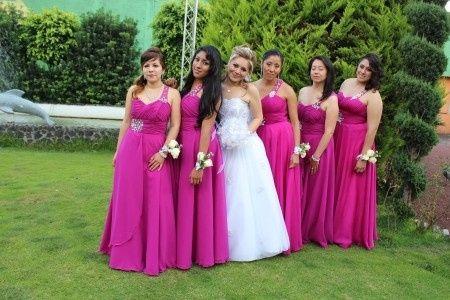 Vestidos de noche rosa bugambilia
