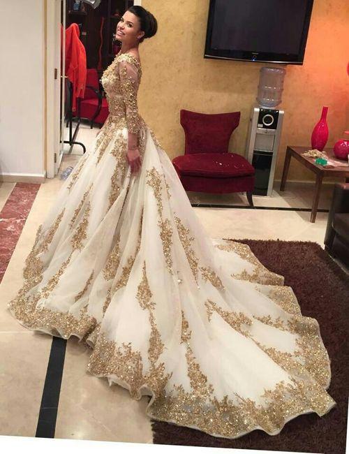 vestido de novia con dorado - foro moda nupcial - bodas.mx