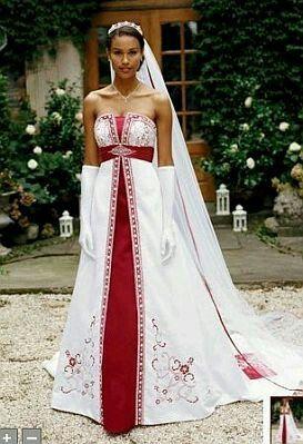 Vestidos de novia color blanco y rojo