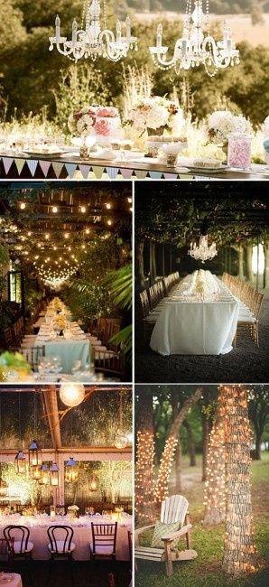 Luces de cascada para iluminar boda