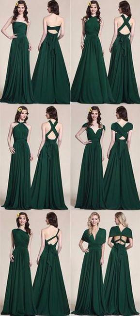 Vestidos de dama color verde