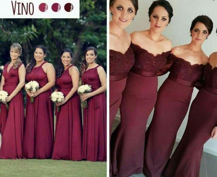 Vestidos de damas de honor color vino