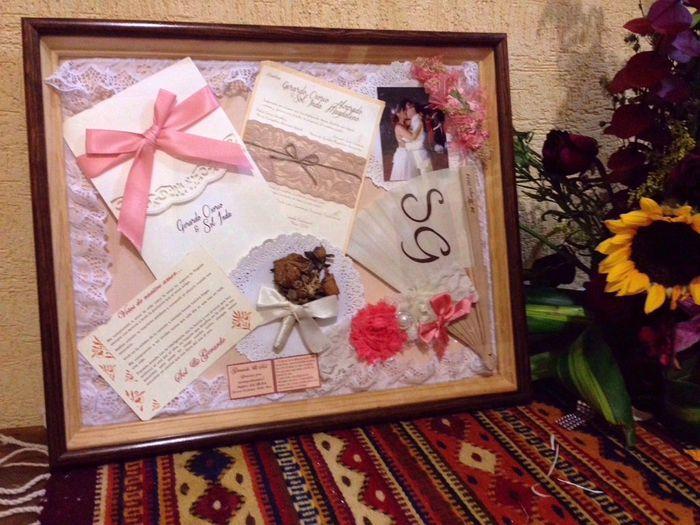 Regalo de primer aniversario de bodas shadowbox 1 fotos manualidades para bodas comunidad - Manualidades regalo boda ...