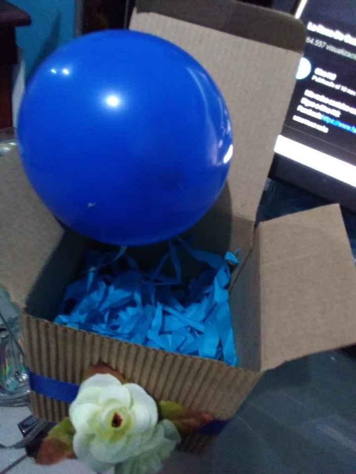 Pegue el globo a la parte de abajo y puse papel picado para que no de viera solito el fondo (en la i