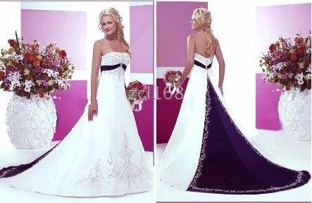 Vestido de novia blanco con lila