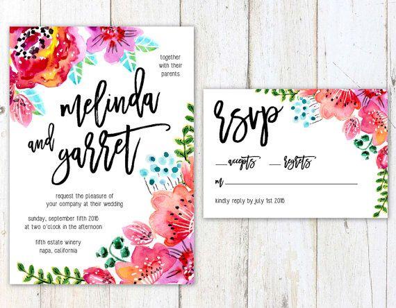 Invitaciones Flores Acuarela