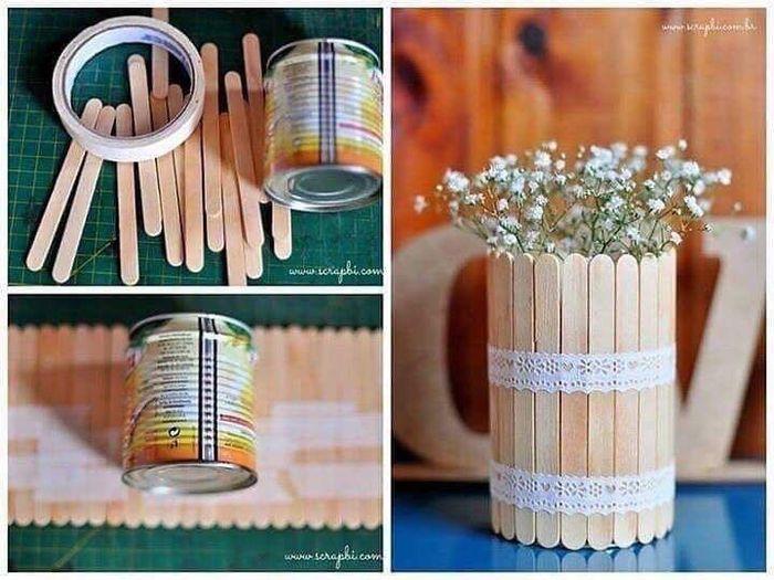 Floreros con palitos de paleta 2