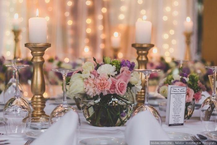 Colores : Centros de mesa en tono Rosa 12