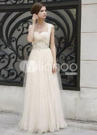 Vestidos para boda civil de color perla