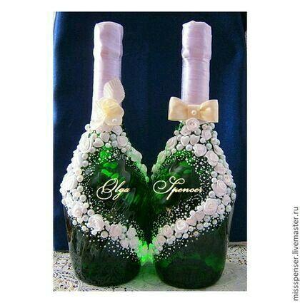 Copas y botellas decoradas foro manualidades para bodas - Botellas decoradas manualidades ...