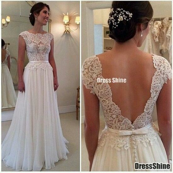 Vestidos de novia sencillos largos para boda civil