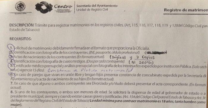 Requisitos para el civil en villahermosa foro tabasco - Requisitos para casarse ...