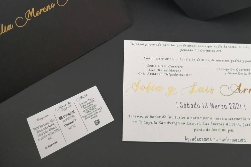Invitación negro y blanco
